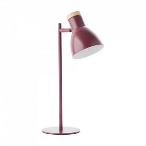 Lampa birou roz din lemn si metal 47 cm Venea Brilliant