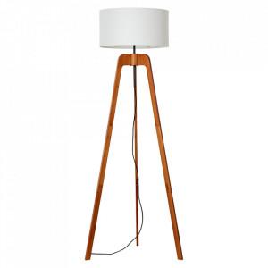 Lampadar alb/maro din textil si lemn 148 cm Nola Brilliant