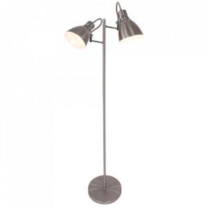 Lampadar argintiu din metal cu 2 becuri 144 cm Spring Steinhauer