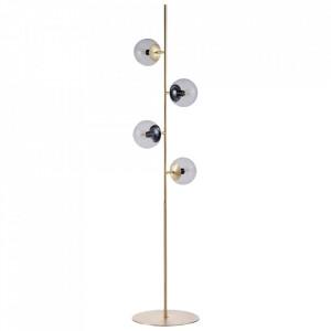 Lampadar auriu/transparent din metal si sticla cu 4 becuri 161 cm Orb Bolia
