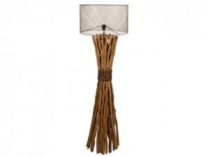 Lampadar maro din metal si lemn de longan 148 cm Keita Santiago Pons