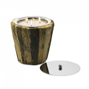 Lumanare cu suport maro din lemn de tec 21 cm Gerold Edzard