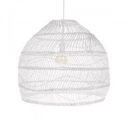 Lustra alba din rachita si metal Hanging Wicker M HK Living