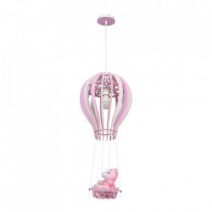 Lustra alba/roz din lemn si metal Balonik Milagro Lighting
