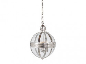 Lustra argintie/transparenta din fier si sticla cu 3 becuri Chloe Richmond Interiors