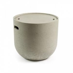 Masa cafea din ciment cu spatiu depozitare 45 cm Sari Kave Home