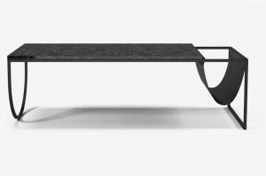 Masa cafea din metal si marmura neagra 130x55 cm Piero Bolia