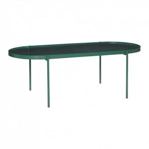 Masa cafea ovala din sticla verde 120x50 cm Green Hubsch