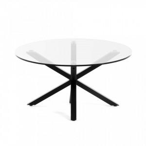 Masa cafea rotunda din metal negru cu blat sticla 82 cm Argo Kave Home