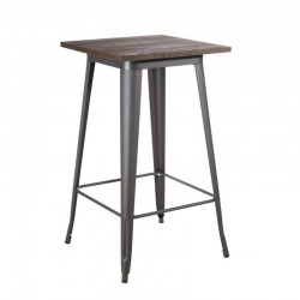 Masa de bar din metal argintiu si lemn 103 cm Dallas Industrial Ixia