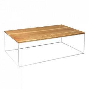 Masa de cafea maro/alba din lemn si metal 60x100 cm Tensio Custom Form