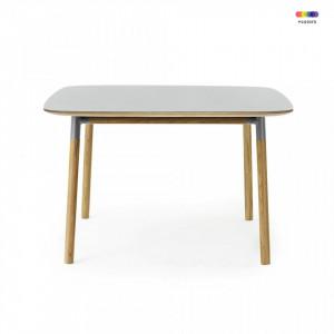 Masa dining gri din linoleum si lemn de stejar 120x120 cm Form Normann Copenhagen