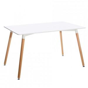 Masa dining maro/alba din MDF si lemn 80x130 cm Creed Ixia