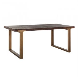 Masa dining maro/auriu antic din lemn de ulm si metal 100x190 cm Cromford Mill Richmond Interiors