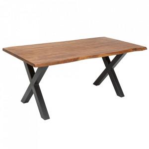 Masa dining maro/gri din lemn de salcam si metal 90x180 cm Mammut Invicta Interior