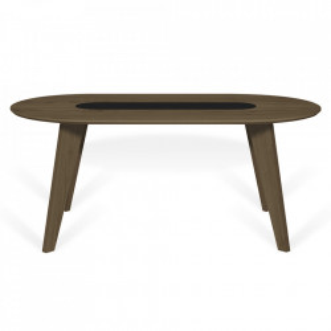 Masa dining maro inchis/neagra din lemn 100x180 cm Lago TemaHome
