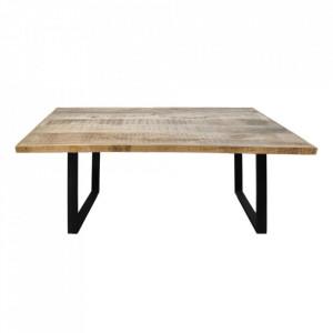 Masa dining maro/neagra din lemn de mango si metal 100x220 cm Silvretta HSM Collection