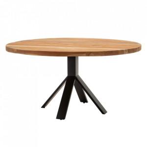 Masa dining maro/neagra din lemn de mango si metal 110 cm Couronne Denzzo