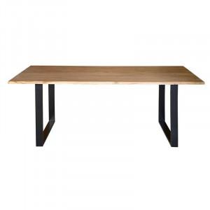 Masa dining maro/neagra din lemn de salcam si fier 100x200 cm Gracie Giner y Colomer