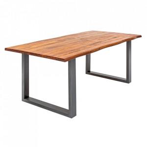 Masa dining maro/neagra din lemn de salcam si fier 80x140 cm Genesis Invicta Interior