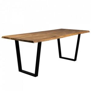 Masa dining maro/neagra din lemn de salcam si fier 90x180 cm Aka Dutchbone