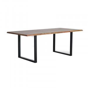 Masa dining maro/neagra din lemn de salcam si metal 100x200 cm Riga Giner y Colomer