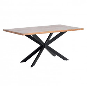 Masa dining maro/neagra din lemn de salcam si metal 90x180 cm New York Giner y Colomer
