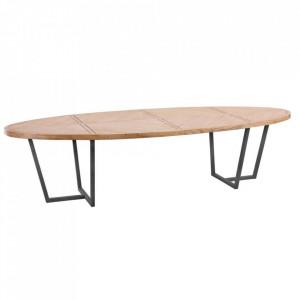 Masa dining maro/neagra din lemn mindi si fier 120x300 cm Morgny Denzzo