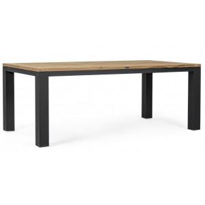 Masa dining maro/neagra din lemn si aluminiu pentru exterior 100x200 cm Spencer Bizzotto