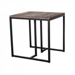 Masa dining maro/neagra din lemn si metal 70x80 cm Madrid Lifestyle Home Collection