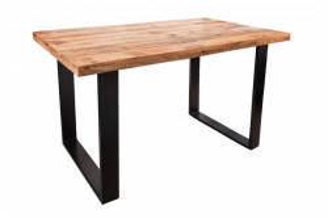 Masa dining maro/neagra din lemn si metal 80x120 cm Gustavo Mini Invicta Interior