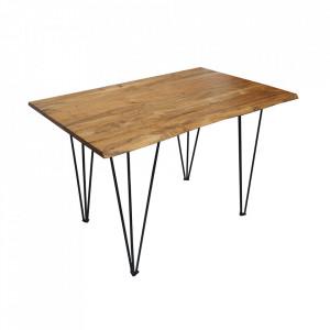 Masa dining maro/neagra din lemn si metal 80x120 cm Mammut Invicta Interior