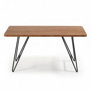 Masa dining maro/neagra din lemn si metal 90x160 cm Komme La Forma