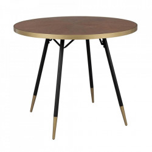 Masa dining maro/neagra din lemn si otel 91 cm Denise White Label
