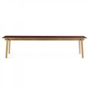 Masa dining maro/rosu burgund din lemn si linoleum 90x300 cm Slice Normann Copenhagen