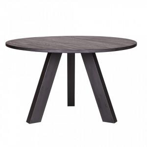Masa dining neagra din lemn de stejar 129 cm Rhonda Woood