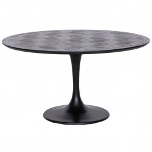 Masa dining neagra din lemn si fier 140 cm Blax Richmond Interiors