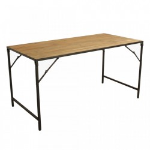 Masa dining pliabila maro din lemn si fier 75x150 cm Elements Raw Materials