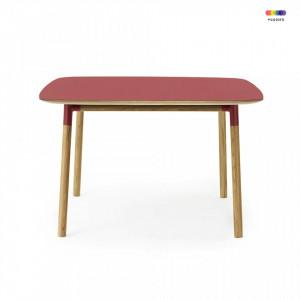 Masa dining rosie din linoleum si lemn de stejar 120x120 cm Form Normann Copenhagen