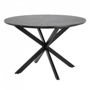 Masa dining rotunda neagra din marmura si metal 120 cm Marble Ixia