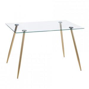 Masa dining transparenta/aurie din sticla si metal 80x120 cm Room Ixia