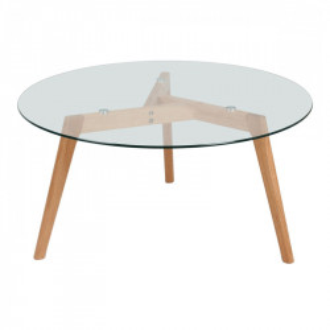 Masa dining transparenta/maro din sticla si lemn 110 cm Fiord Opjet Paris