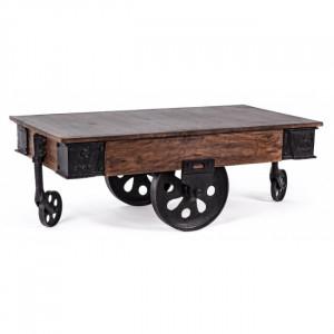 Masa maro/neagra din lemn si fier pentru cafea 65x120 cm Track Bizzotto
