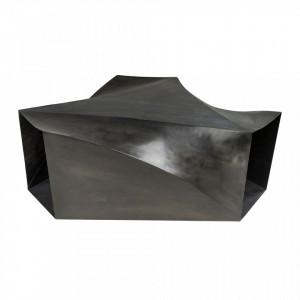 Masa neagra din otel pentru cafea 107x120 cm Elysium Gun Metal Versmissen