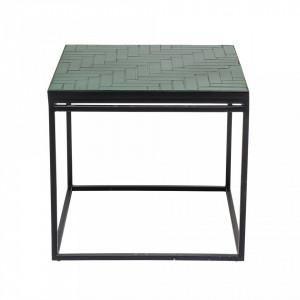 Masa verde patrata din beton cu picioare din metal 41x38 cm Bloomingville