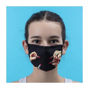Masca de protectie multicolora din microfibra Lipstick Black S/M Seletti