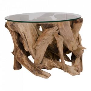 Masuta cafea maro din sticla si lemn de tec 60 cm Grand Canyon House Nordic