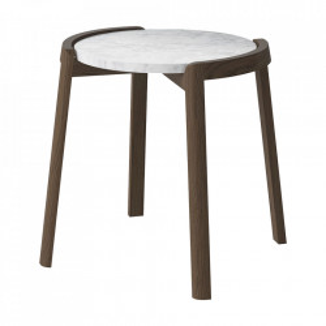 Masuta de cafea gri/maro din marmura si lemn 46 cm Mix Bolia