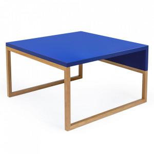 Masuta de cafea maro/albastra din MDF si lemn 50x60 cm Cubis Woodman