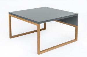 Masuta gri din lemn de stejar si MDF pentru cafea 50x60 cm Cubis Woodman
